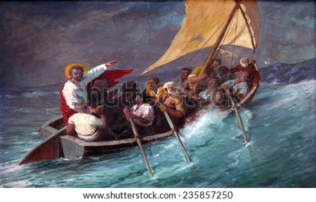 PRCANJ, MONTENEGRO - JUNE, 08: Jesus Calms a Storm on the Sea, the Catholic Church of the Birth of the Virgin Mary, on June 08, 2012, in Prcanj, Montenegro - stock photo