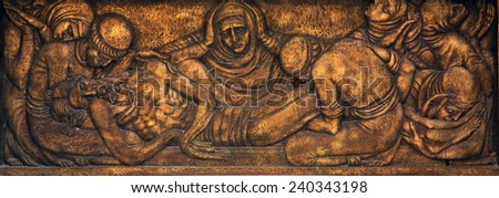 PRCANJ, MONTENEGRO - JUNE, 08: Lamentation of Christ, Catholic Church of the Birth of the Virgin Mary, on June 08, 2012, in Prcanj, Montenegro - stock photo