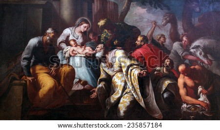 PRCANJ, MONTENEGRO - JUNE, 08: Nativity Scene, Adoration of the Magi, Catholic Church of the Birth of the Virgin Mary, on June 08, 2012, in Prcanj, Montenegro - stock photo