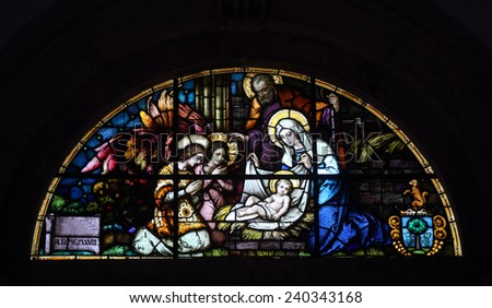 PRCANJ, MONTENEGRO - JUNE, 08: Nativity Scene, stained glass window in the Catholic Church of the Birth of the Virgin Mary, on June 08, 2012, in Prcanj, Montenegro - stock photo