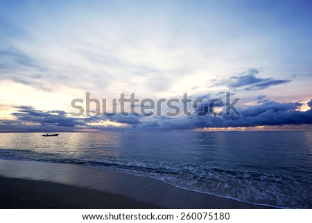 Pre-dawn at Geger Beach, Bali Island, Indonesia - stock photo