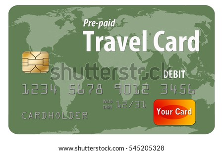 Pre-paid travel debit card with a world map as the art on the card is seen here. This is a pre-paid card used by travelers because it provides protection from loss or theft. Isolated on white.