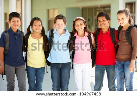 Pre teen children at school - stock photo