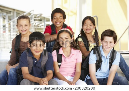 Pre teen children in school - stock photo