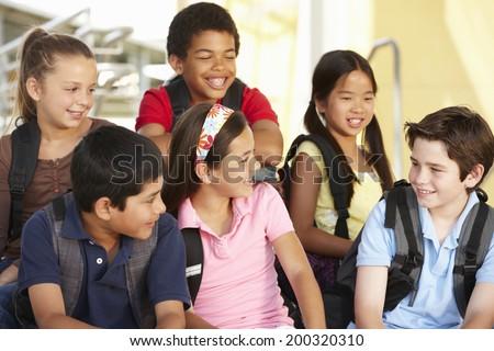 Pre teen children in school - stock photo