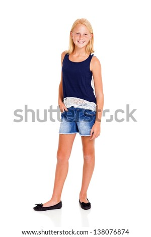 pre teen girl full length portrait on white - stock photo