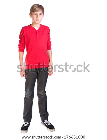 pre teen male caucasian boy against white background