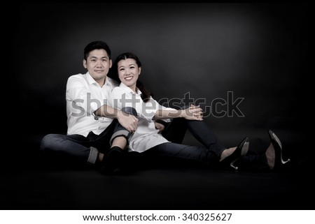 Pre-Wedding of Young Asian Couple in Studio
