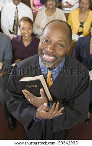 Preacher and Congregation, portrait, high angle view - stock photo