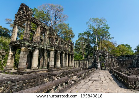 Preah Khan was built in 1191 during the reign of King Jayavarman VII. The central Buddhist temple included an image of the Boddhisattva Lokeshrvara, carved to resemble the King's father. - stock photo