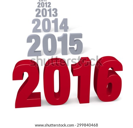 "Preceding years in gray lead to a large, shiny red ""2016""  Focus is on 2016. Isolated on white."