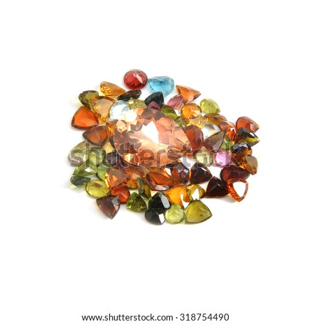 precious gems isolated on white background - stock photo