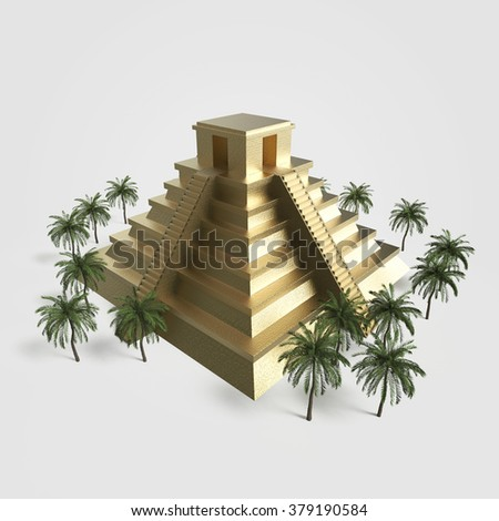 Precious golden metal Mexican Mayan Aztec Pyramid, high quality 3d render isolated. with palm trees  - stock photo