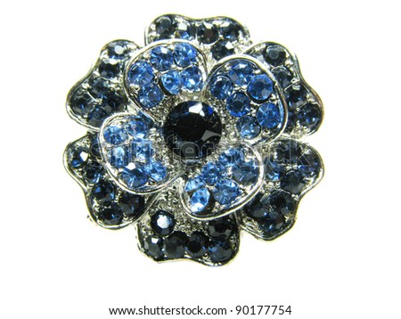 precious jewellery brooch isolated on white background - stock photo