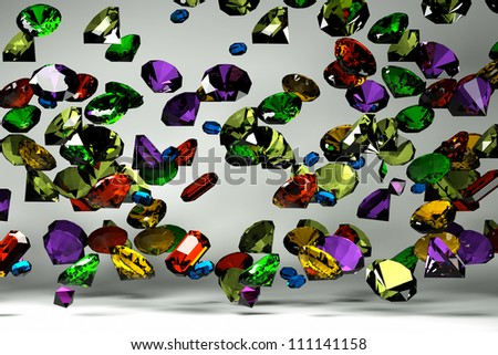 precious stones on a light background, front view, in the fall - stock photo