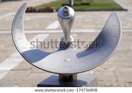 Precise sun clock dial in the town of Panagyurishte, Bulgaria - stock photo