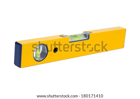 Precision tool: a yellow level isolated on white background - stock photo