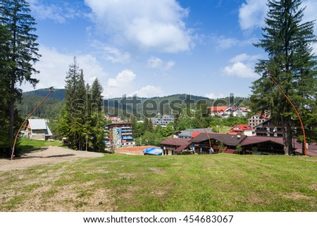 PREDEAL, ROMANIA - MAY 30, 2016: View of the tourist town of Predeal, Romania in a sunny day