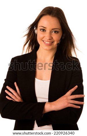 Preety happy asian caucasian business woman with headset isolated - stock photo