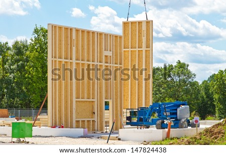 Prefabricated firm building - stock photo