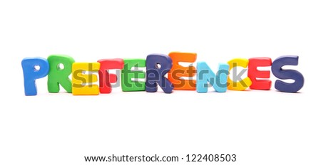 PREFERENCES - webwords of plasticine letters standing isolated on white