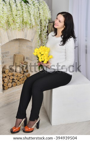 Pregnancy, motherhood and happy future mother concept - pregnant - stock photo