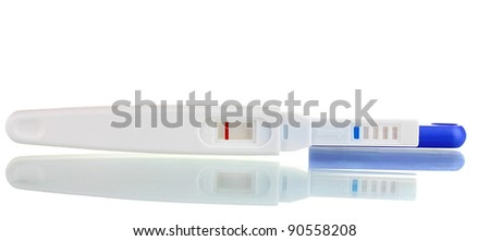 pregnancy test is isolated on white - stock photo