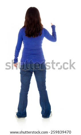 Pregnant asian woman isolated on white pointing behind - stock photo