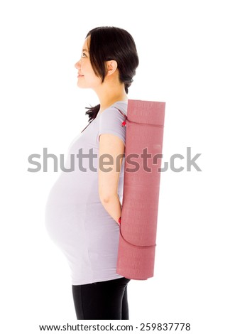 Pregnant asian woman isolated on white profile - stock photo