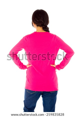 Pregnant asian woman isolated on white showing her back - stock photo