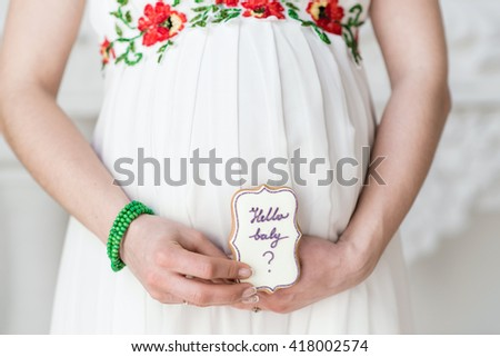 Pregnant belly - stock photo