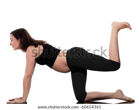 pregnant caucasian woman workout training isolated studio on white background - stock photo