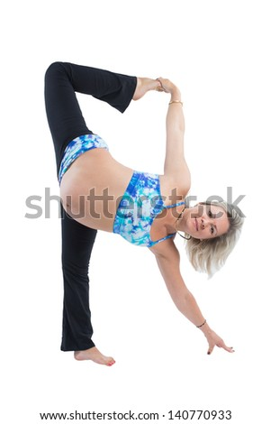 Pregnant fitness woman on yoga and pilates pose on white background The concept of Sport and Health