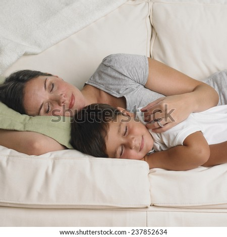 Pregnant Mother and Son - stock photo