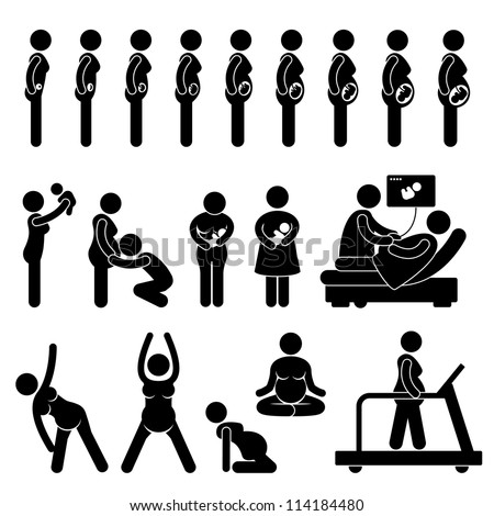 Pregnant Pregnancy Stages Process Prenatal Development Mother Baby Exercise Stick Figure Pictogram Icon - stock photo