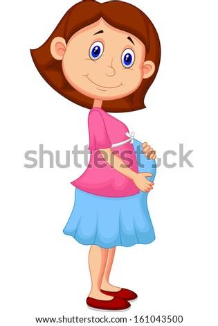 Pregnant woman cartoon - stock photo
