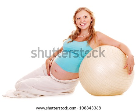 Pregnant woman do fitness sport. Isolated.