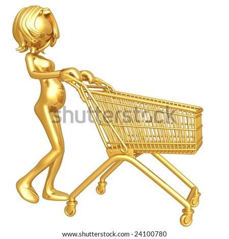 Pregnant Woman Shopping - stock photo