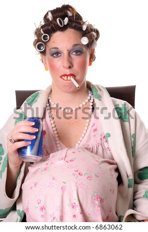 Pregnant woman smoking with a beer