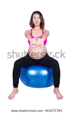 Pregnant woman with fitness ball isolated on white background