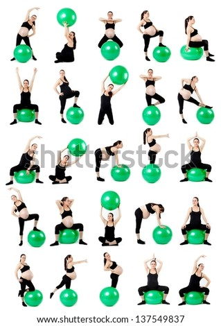 Pregnant woman with gymnastic ball. Pregnant woman fitness collage isolated on white.