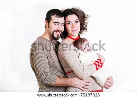 pregnant woman with her ??husband and child isolated on white background - stock photo