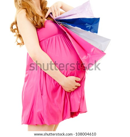 Pregnant woman with shopping