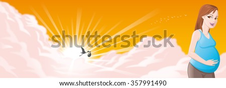 Pregnant woman with the stork and baby in background - stock photo