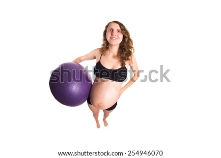 Pregnant woman with thumb up - isolated fisheye photo - stock photo