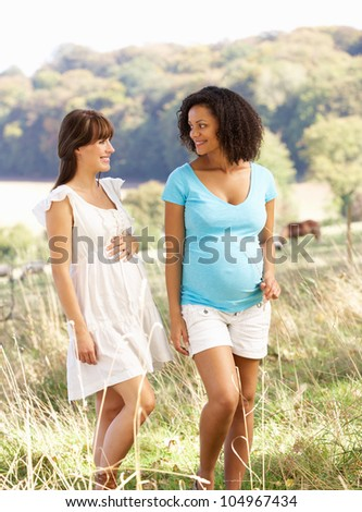 Pregnant women outdoors in countryside - stock photo