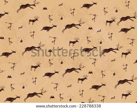 Prehistoric cave painting. Mural. Art. - stock photo
