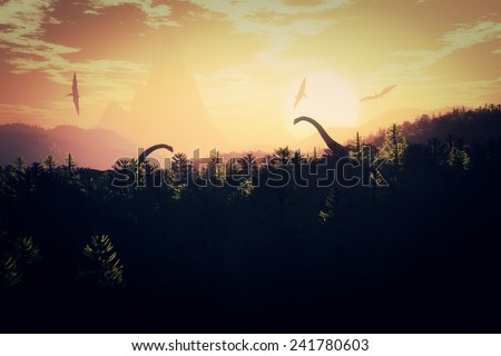 Prehistoric Jungle with Dinosaurs in the Sunset Sunrise 3D artwork