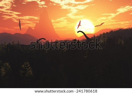 Prehistoric Jungle with Dinosaurs in the Sunset Sunrise 3D artwork - stock photo