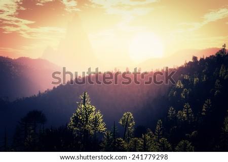 Prehistoric Jurassic Jungle in the Sunset Sunrise 3D artwork - stock photo
